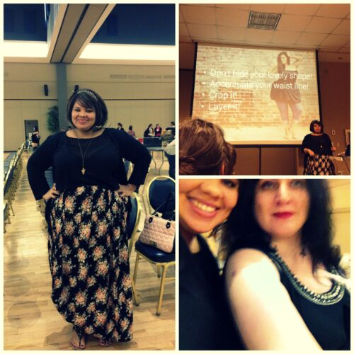 Elizabeth von Candy Strike (beim Vortrag und mit Autorin Rhea Krcmárová) trägt Mode als ihrer eigenen Kollektion …