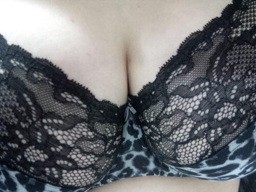 Dekolleté von vorn - die rechte Brust ist etwas Größer, die elastische Spitze ist hier hilfreich